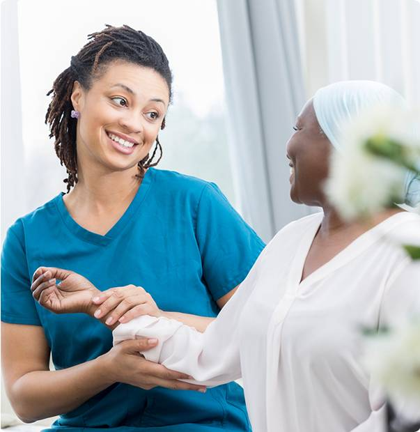 Smiling nurse and a patient